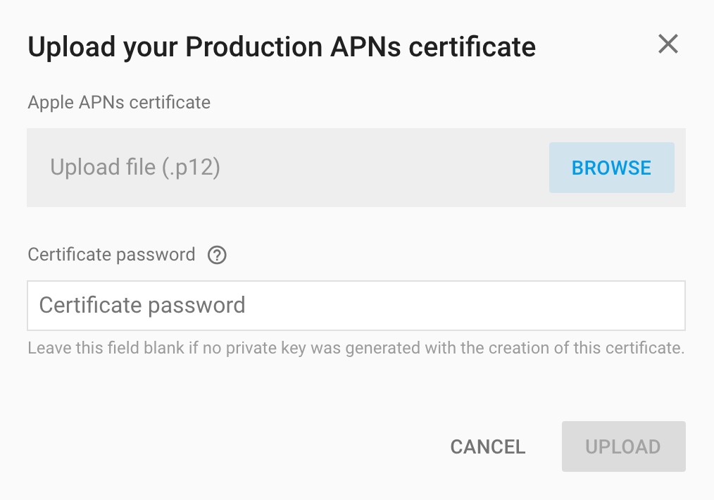 How to upload Apple Push Notification Certificate to Firebase - AndroApp
